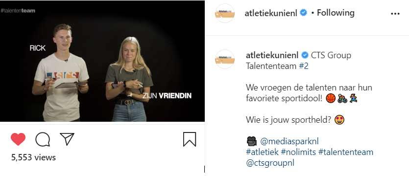 Atletiekunie instagram post